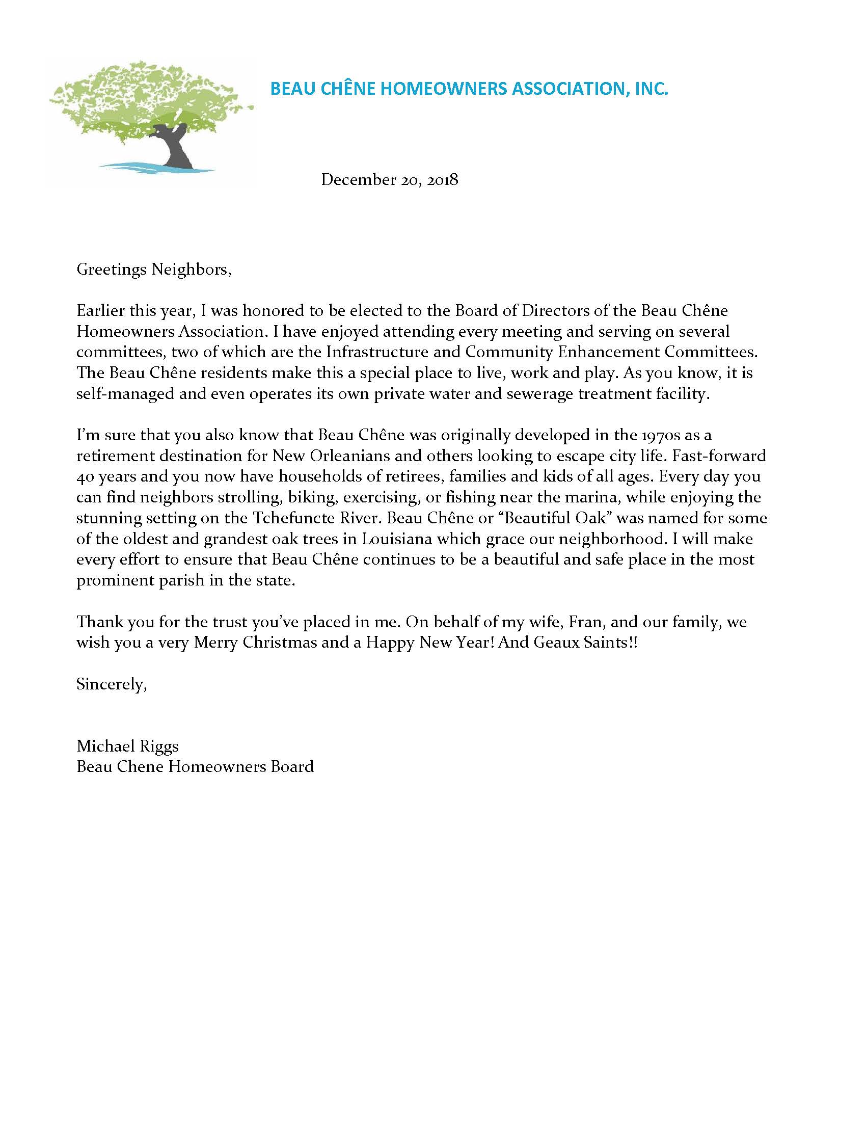 Michael Riggs Letter December 2018 - Beau Chêne Homeowners