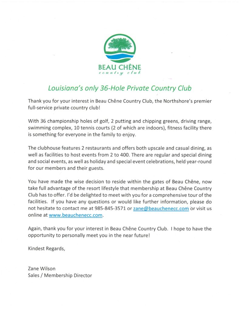 Club Welcome Letter